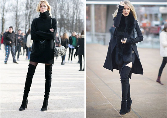 thigh high boots for winter outfit