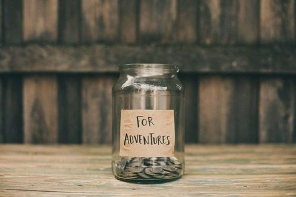 money for travel in a jar