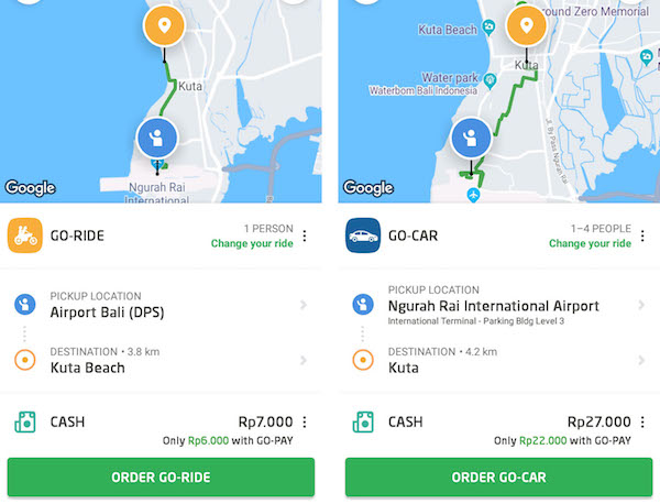 GoJek interface and price - indonesian online rides